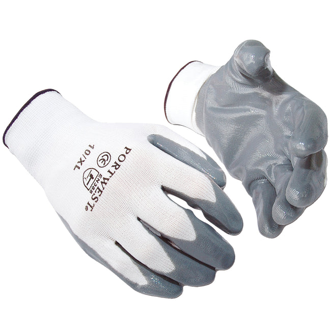 Grey - Front - Portwest Flexo Grip Nitrile Gloves (A310) - Safetywear - Workwear (Pack of 2)