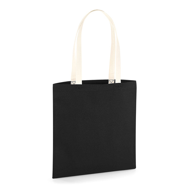 Black-Natural - Front - Westford Mill EarthAware Contrast Handle Organic Bag For Life