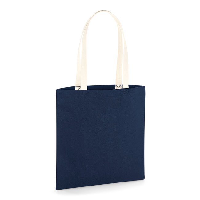 French Navy-Natural - Front - Westford Mill EarthAware Contrast Handle Organic Bag For Life