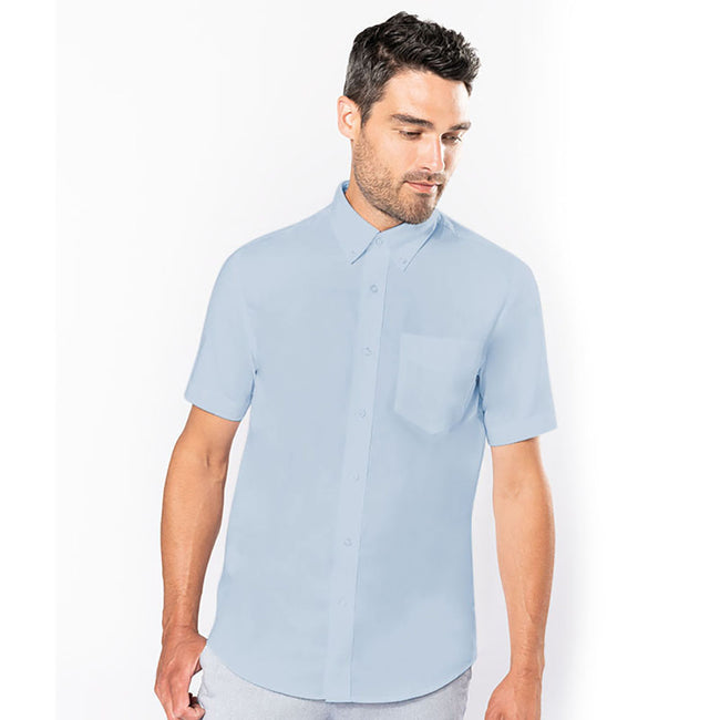 Oxford Blue - Back - Kariban Mens Short Sleeve Easy Care Oxford Shirt