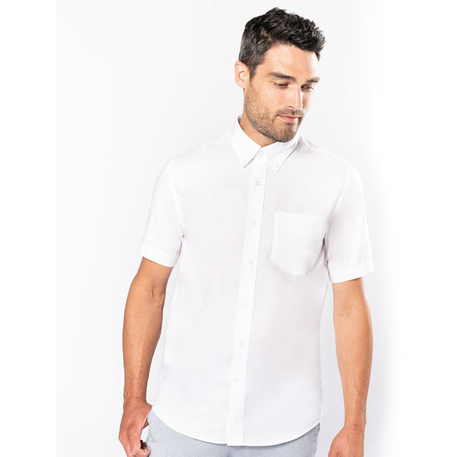 White - Back - Kariban Mens Short Sleeve Easy Care Oxford Shirt