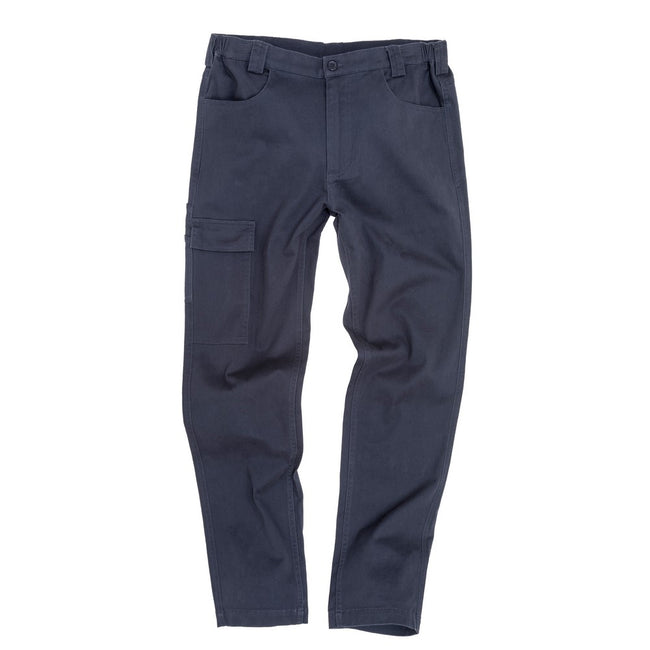 Navy - Front - Result Mens Work-Guard Super Stretch Slim Chinos