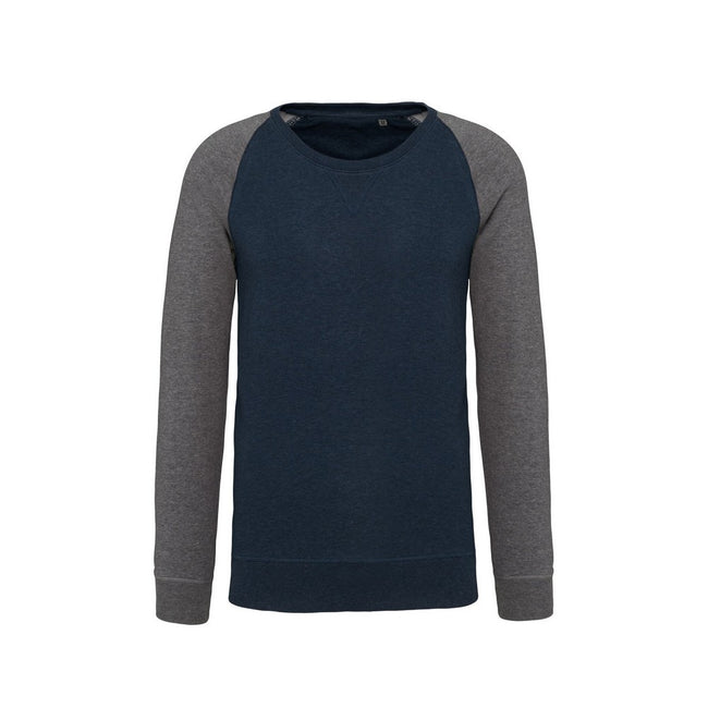 French Navy Heather-Grey Heather - Front - Kariban Mens Organic Two-Tone Sweatshirt