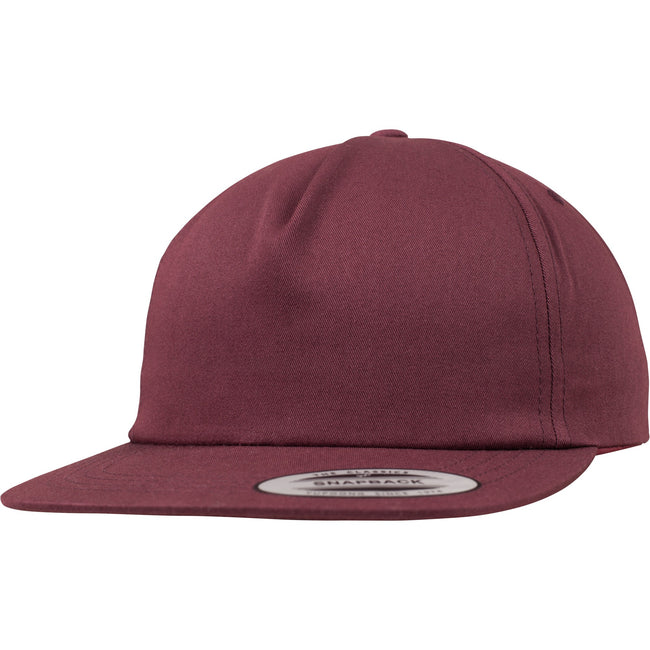 Maroon - Front - Yupoong Flexfit Unisex Unstructured 5 Panel Snapback Cap