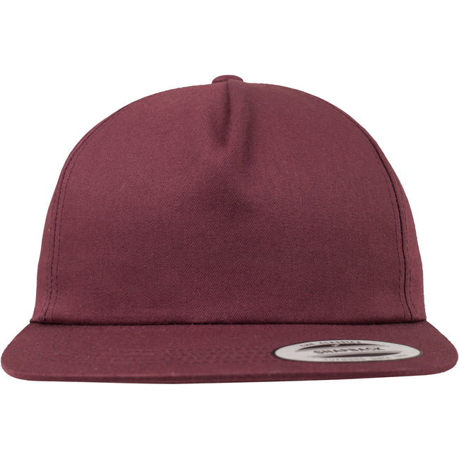 Maroon - Back - Yupoong Flexfit Unisex Unstructured 5 Panel Snapback Cap