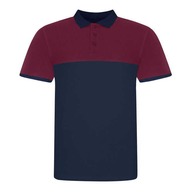 Oxford Navy-Burgundy - Front - AWDis Just Polos Mens Colour Block Polo Shirt