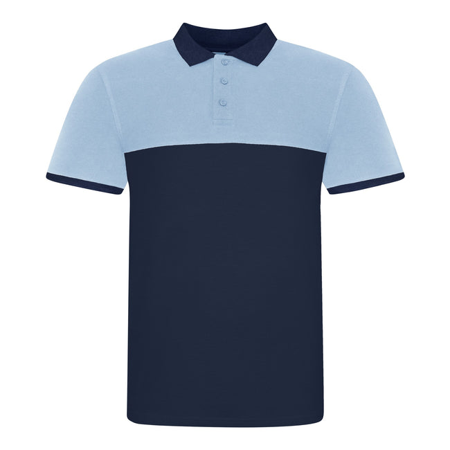 Oxford Navy-Sky Blue - Front - AWDis Just Polos Mens Colour Block Polo Shirt