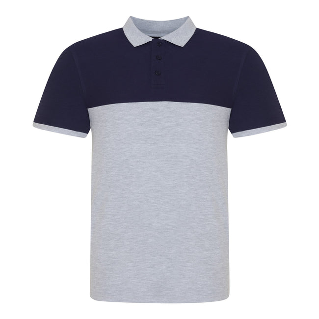 Heather Grey-Oxford Navy - Front - AWDis Just Polos Mens Colour Block Polo Shirt