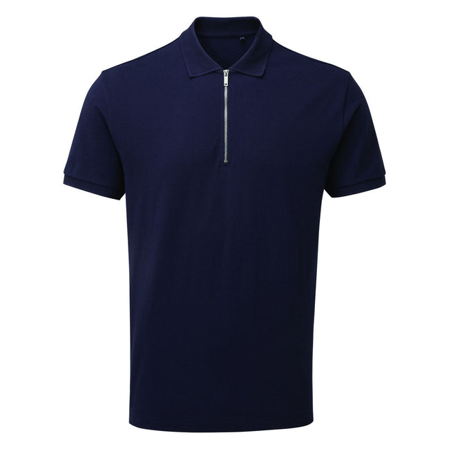 Black - Front - Asquith & Fox Mens Zip Polo Shirt