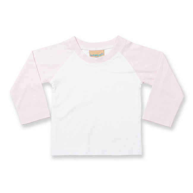 White-Pale Pink - Front - Larkwood Baby Long Sleeved Baseball T-Shirt