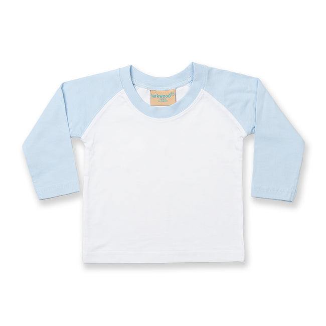White-Pale Blue - Front - Larkwood Baby Long Sleeved Baseball T-Shirt