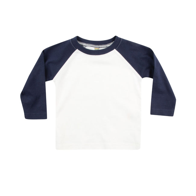 White-Navy - Front - Larkwood Baby Long Sleeved Baseball T-Shirt