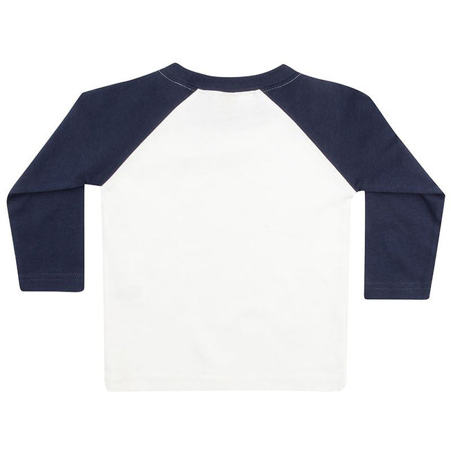 White-Navy - Back - Larkwood Baby Long Sleeved Baseball T-Shirt