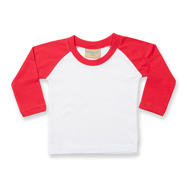 White-Red - Front - Larkwood Baby Long Sleeved Baseball T-Shirt