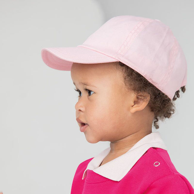 Pale Pink - Side - Larkwood Baby Unisex Toddler Baseball Cap