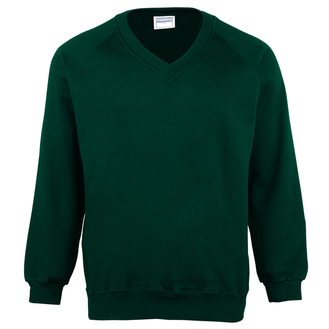 Bottle Green - Front - Maddins Childrens Unisex Coloursure V-Neck Sweatshirt - Schoolwear