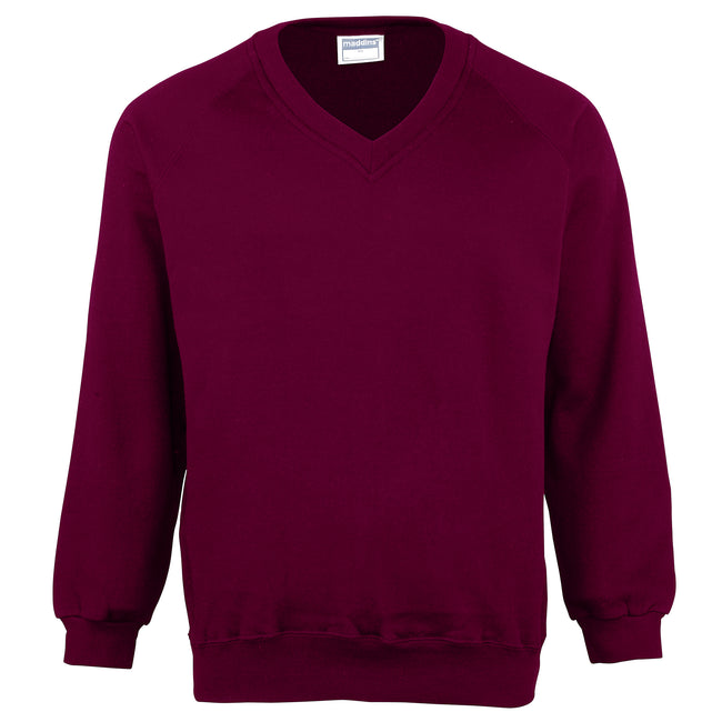 Burgundy - Front - Maddins Childrens Unisex Coloursure V-Neck Sweatshirt - Schoolwear