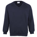 Navy - Front - Maddins Childrens Unisex Coloursure V-Neck Sweatshirt - Schoolwear
