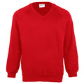 Red - Front - Maddins Childrens Unisex Coloursure V-Neck Sweatshirt - Schoolwear