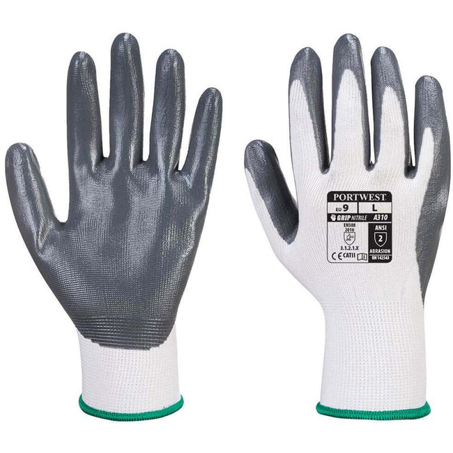 Grey - Back - Portwest Flexo Grip Nitrile Gloves (A310) - Safetywear - Workwear