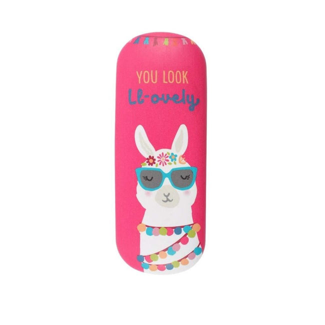 Pink - Front - Something Different Llama Glasses Case