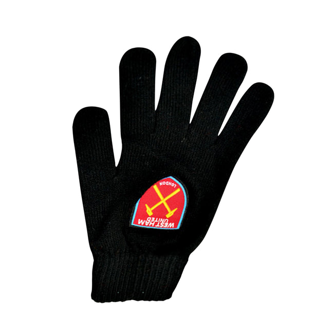 Black - Front - West Ham United FC Mens Official Knitted Football Crest Design Gloves