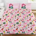 Pink-White - Front - Emoji Official Flamingo Reversible Duvet and Pillowcase Set