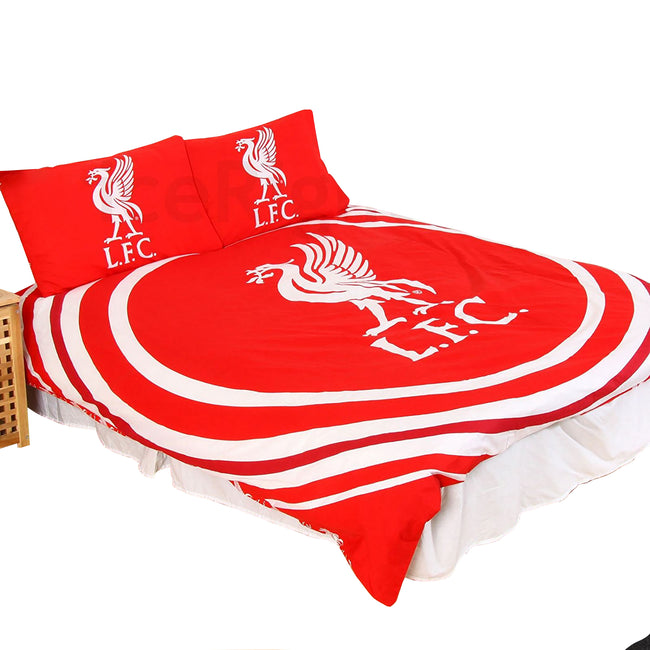 Red - Front - Liverpool FC Official Reversible Double Duvet And Pillowcase Set Pulse Design