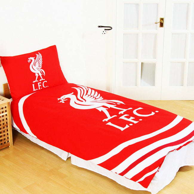 Red-White - Front - Liverpool FC Official Reversible Pulse Single Duvet Set