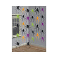 Black-Green-Orange-Purple - Front - Amscan Halloween Spider String Decorations