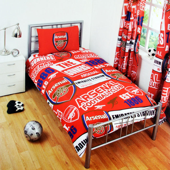 Red - Front - Arsenal FC Childrens-Kids Official Patch Football Crest Duvet Set