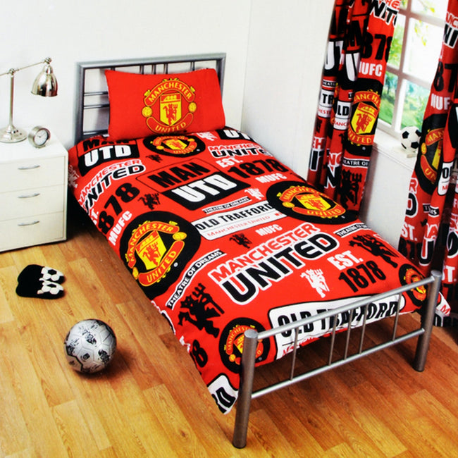 Red - Front - Manchester United FC Childrens-Kids Official Patch Football Crest Duvet Set