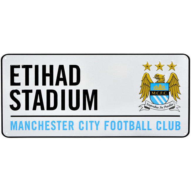 White-Blue - Front - Manchester City FC Official Football Crest Street Sign