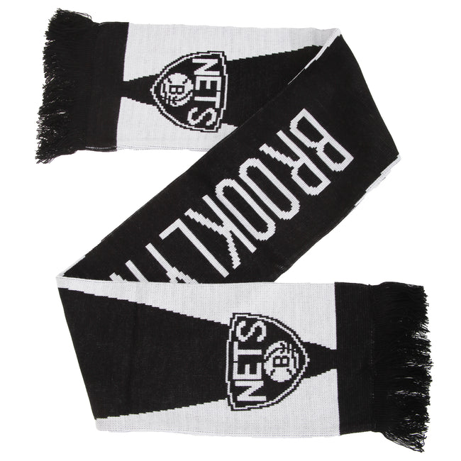 Black-White - Front - Brooklyn Nets Official NBA Basketball Crest Optics Scarf