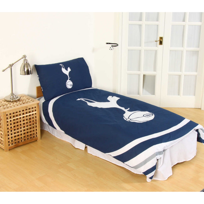 Navy-White - Back - Tottenham Hotspur FC Official Pulse Design Reversible Duvet And Pillowcase Set