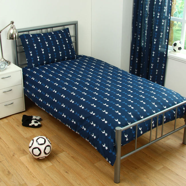 Navy-White - Side - Tottenham Hotspur FC Official Pulse Design Reversible Duvet And Pillowcase Set