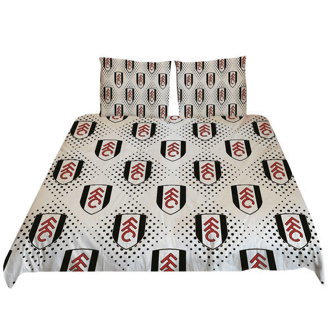 Black-White-Red - Front - Fulham FC Diamond Duvet Cover Set
