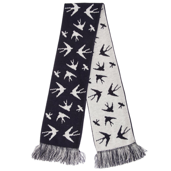 Navy-White - Front - FLOSO Womens-Ladies Swallow Pattern Knitted Winter Scarf With Fringe