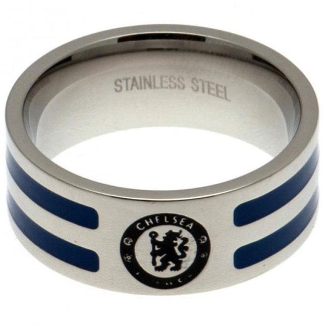 Silver-Blue - Front - Chelsea FC Colour Stripe Ring