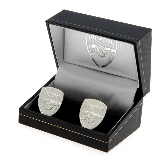 Silver - Back - Arsenal FC Silver Plated Crest Cufflinks