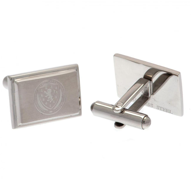 Silver - Front - Scotland FA Stainless Steel Cufflinks
