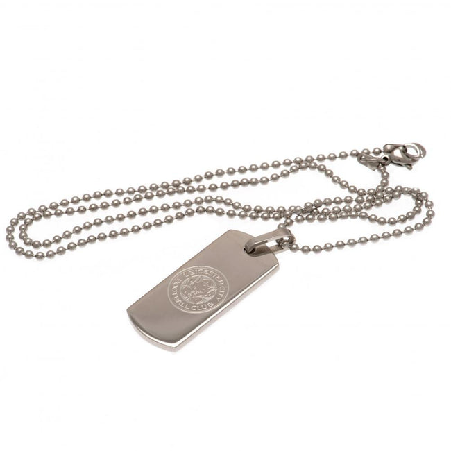 Silver - Front - Leicester City FC Narrow Dog Tag And Chain