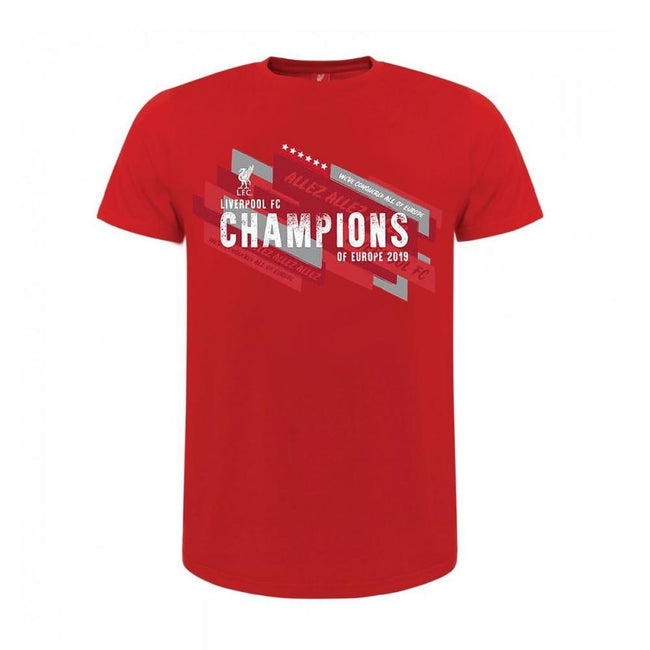 Red - Front - Liverpool FC Childrens-Kids Champions Of Europe T Shirt