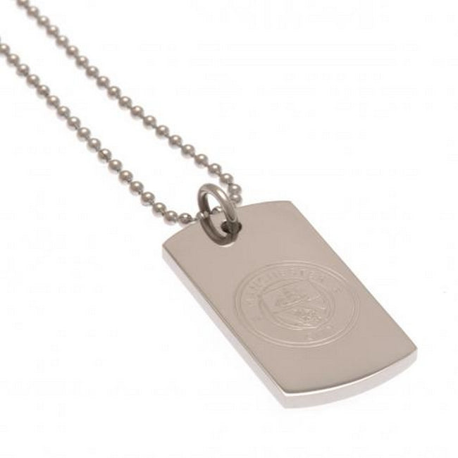 Silver - Back - Manchester City FC Engraved Dog Tag and Chain