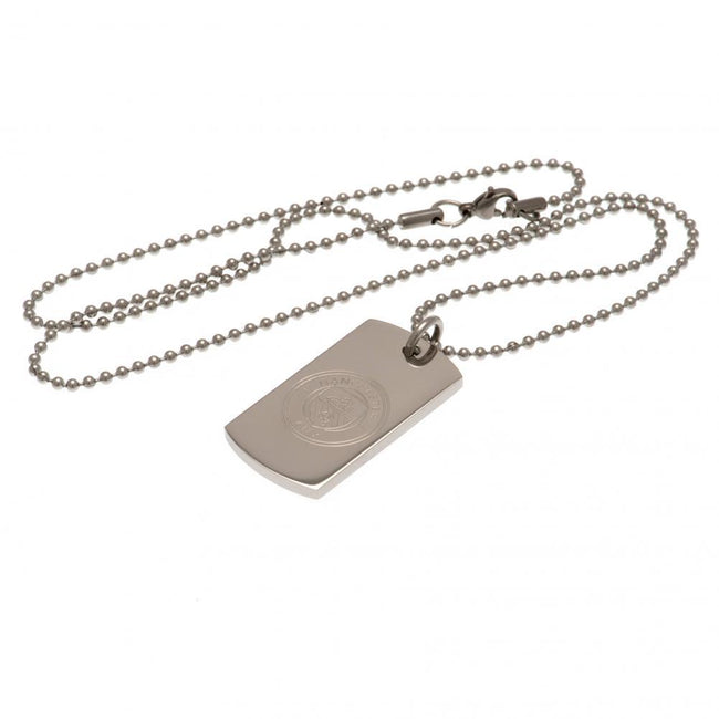 Silver - Front - Manchester City FC Engraved Dog Tag and Chain