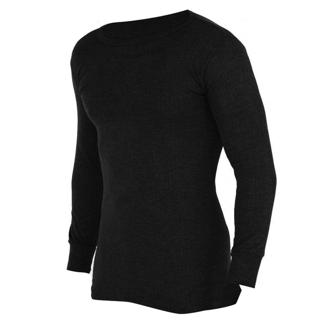 Black - Front - FLOSO Mens Thermal Underwear Long Sleeve Vest Top (Viscose Premium Range)
