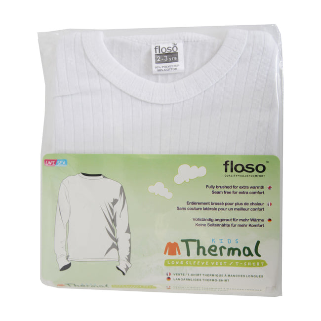 White - Side - FLOSO Unisex Childrens-Kids Thermal Underwear Long Sleeve T-Shirt-Top
