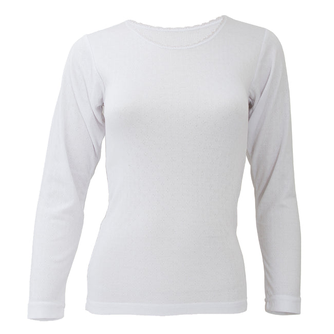 White - Front - FLOSO Ladies-Womens Thermal Underwear Long Sleeve T-Shirt-Top (Standard Range)