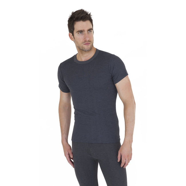 Charcoal - Front - Mens Thermal Underwear Short Sleeve T Shirt Polyviscose Range (British Made)