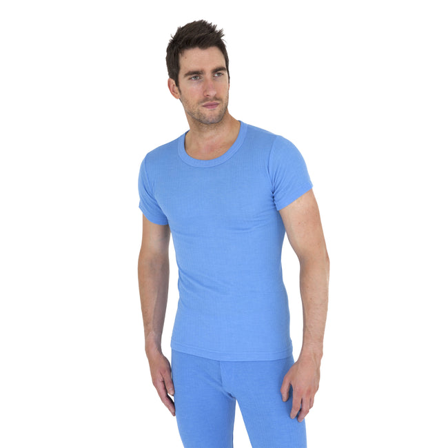 Blue - Front - Mens Thermal Underwear Short Sleeve T Shirt Polyviscose Range (British Made)